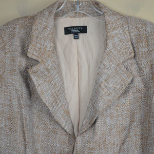 Talbots Jackets & Coats - Talbots Women's Tan and Gold Tweed Open Blazer
